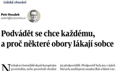 """Článek """"VŠE o… příležitosti podvádět"""" pro Hospodářské noviny"""