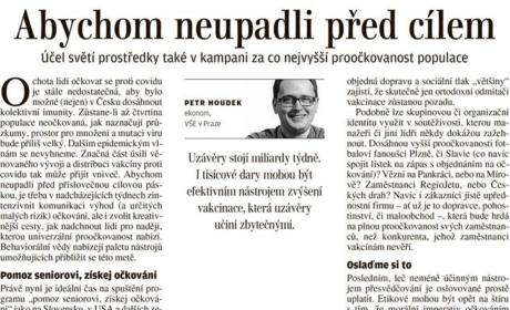 """Článek """"Abychom neupadli před cílem"""" pro Lidové noviny"""