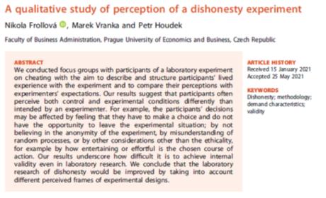 Nová studie o prožitku účasti na experimentu